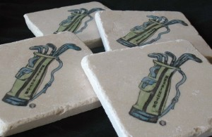 Personalized Golf Bag Tile Coasters, Set of 4