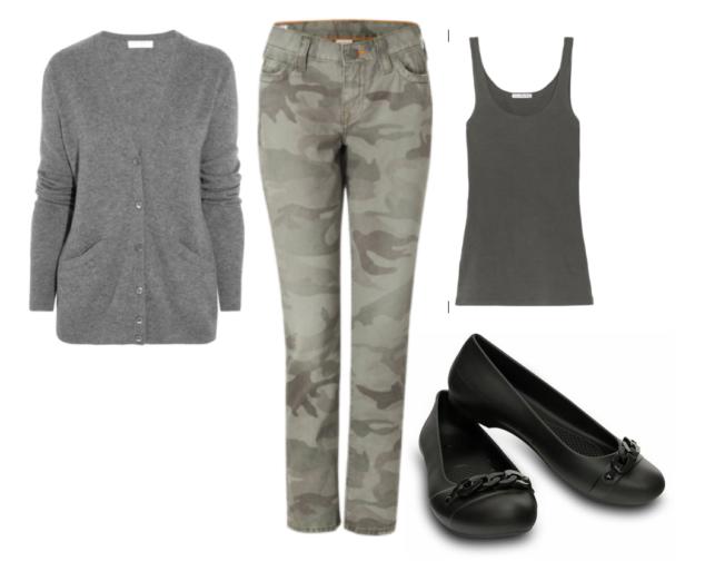 gray cardigan button up, camoflauge skinny jeans, gray strap tanktop and Crocs Gianna Link Flats
