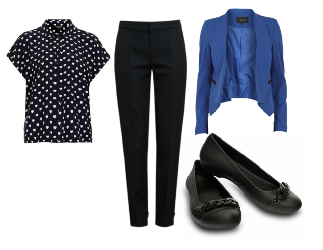 Dark heart patterned woman's bell sleeved top, black skinny jeans, bright blue cropped blazed and Crocs Gianna Link Flats