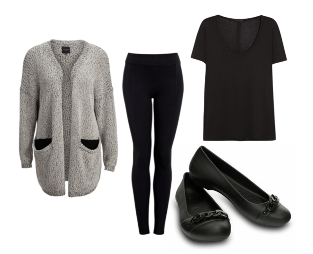 speckled large woman's sweater, black leggings, black scooped woman's tshirt and Crocs Gianna Link Flats