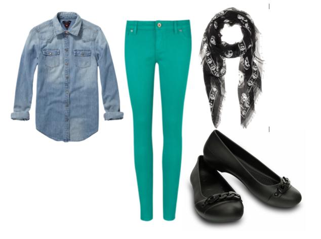 Light blue denim button down shirt,  kelly green skinny jeans, black skull scarf and Crocs Gianna Link Flats