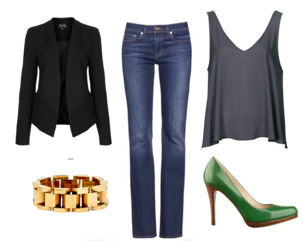 black fitted long-sleeved woman's jacket, gold block bracelet, jeans, gray v neck sleeveless top and green pump heels