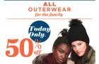 Old Navy Deal: 50% OFF Outerwear TODAY till 1PM (In-Store only!)
