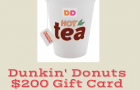 Dunkin' Donuts Giveaway – $200 Dunkin' Cards and More! #GIVEAWAY