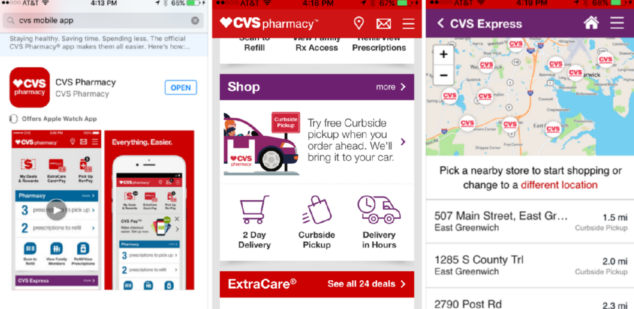 With CVS curbside pickup, I can use their app to shop, pay, and then just pick up my things when they're ready.