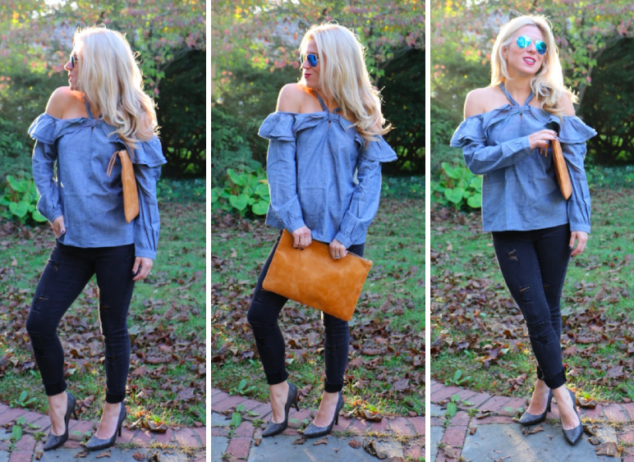 Denim Off the Shoulder Top