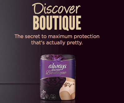 Always Discreet Boutique makes bladder protection pretty!