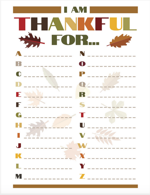What I'm Thankful List for Thanksgiving. Alphabet Structure to come up with what your kids are Thankful For!