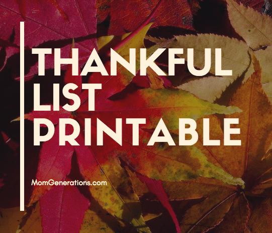 Thanksful List Printable