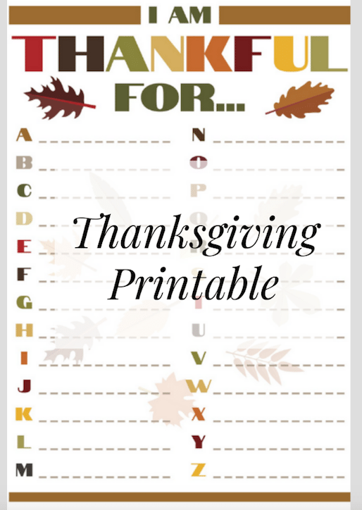 """""""What I'm Thankful For"""" Thankgiving Day Printable for Kids"""