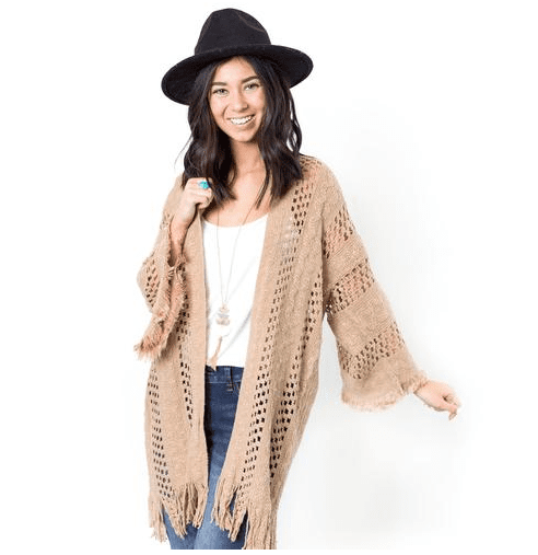 Oakley Crochet & Fringe Kimono