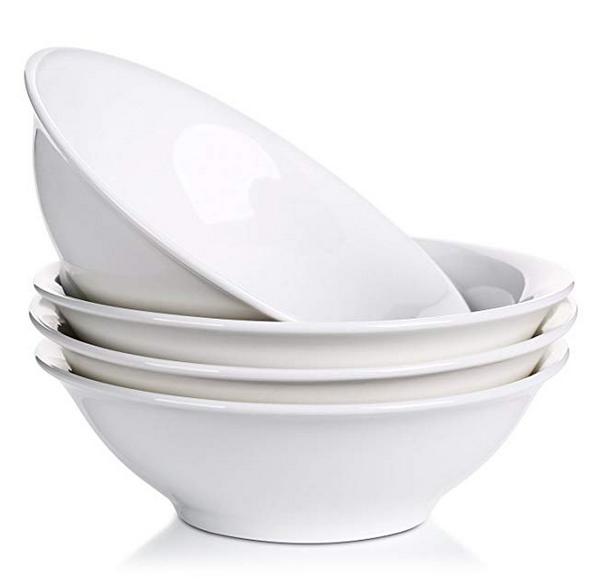 Lifver 42-Oz Porcelain Soup/Noodle/Cereal Bowl,Elegant White,Set of 4 Serving Bowls