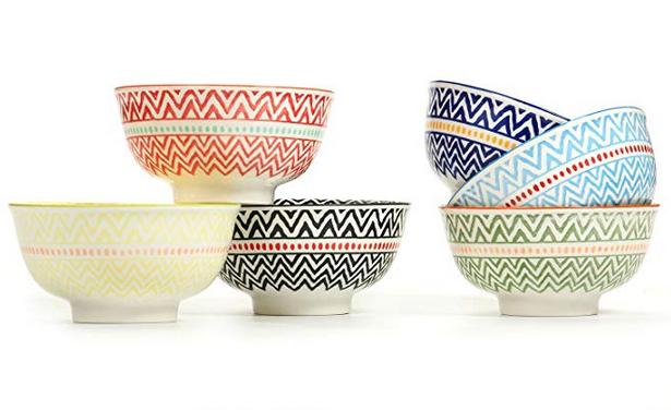 """Porcelain Large Serving Bowls for Cereal, Pasta,Soup, Fruit, Ramen, Set of 6 Assorted Colors,FDA Approved (5.6"""" Bowls)"""