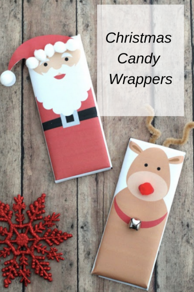 Christmas Candy Wrappers - Cute Santa and Rudolph Wrappers