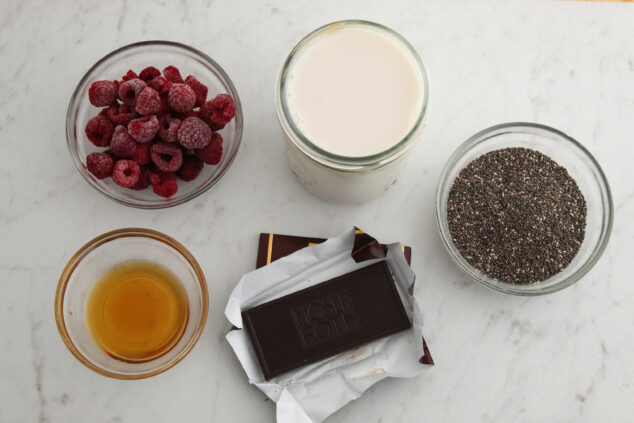 Ingredients for Raspberry Chocolate Chia Pudding