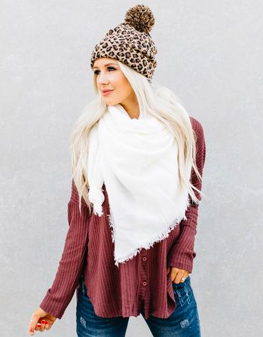 White Square Scarf