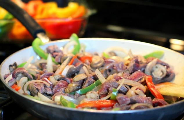 Raw Steak cut up in strips