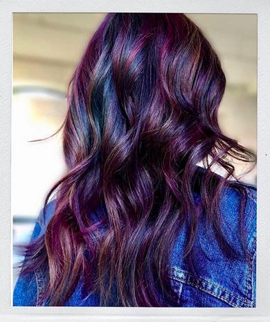 Purple hues throughout hair