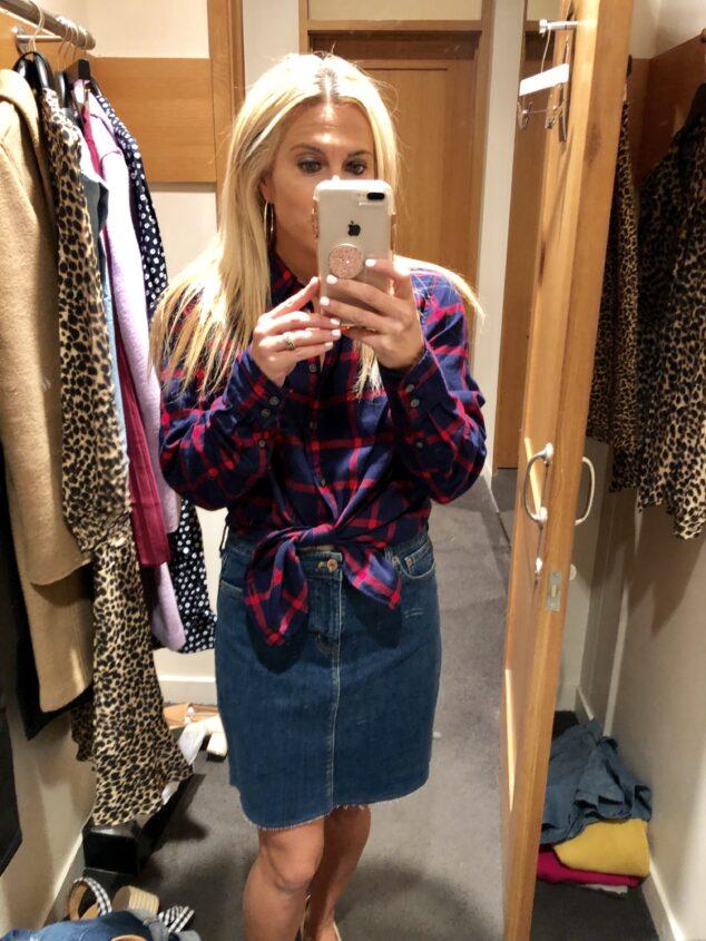 Plaid Skirt with Denim Skirt