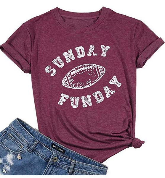 Sunday Funday Letter T-Shirt Women Football Shirt Casual Short Sleeve