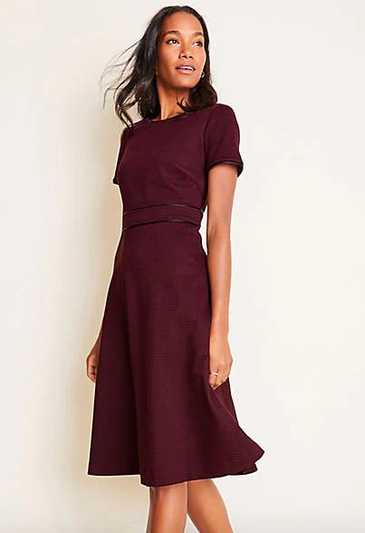 Ann Taylor Faux Leather Trim Plaid Flare Dress
