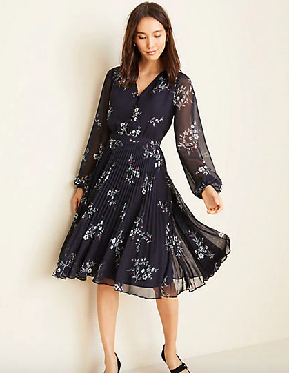 Floral Pleated Flare Dress