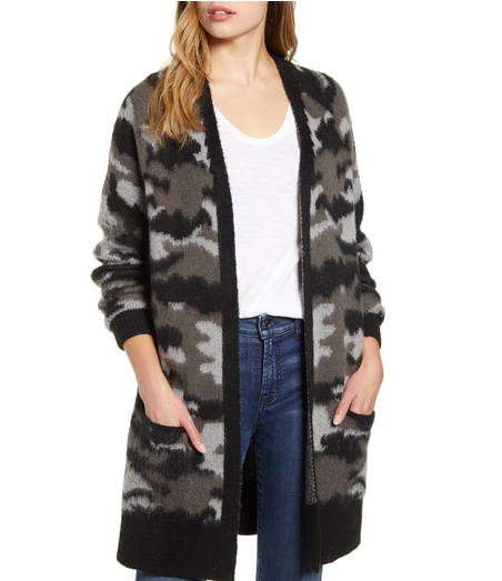 Camo Open Front Long Cardigan LUCKY BRAND