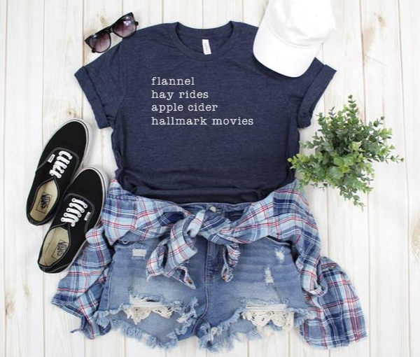 Fall T-Shirt   Flannel, Hay Rides, Apple Cider, Hallmark Movies   Women's Clothing   Shirts with Sayings   Gifts for Her   Shirts for Women