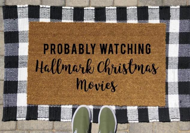 Probably Watching Hallmark Christmas Movies Doormat   Hallmark Movies Doormat