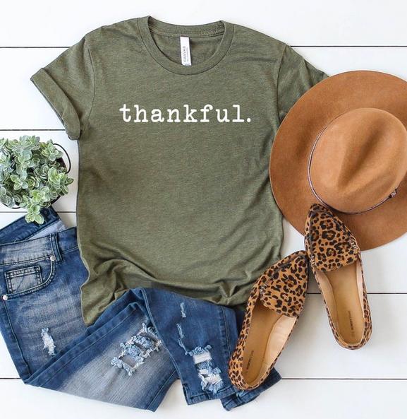 Thankgiving Shirts - Thankful | Mom Life Tee | Women's Shirt | Graphic Tee | Fall Tee | Unisex | Fall Graphic Tees | Crewneck Tee| Thanksgiving Shirt