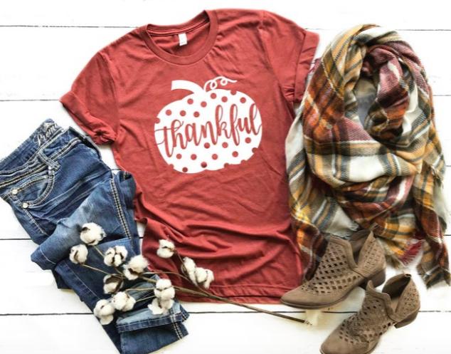 Thanksgiving Shirt | Thankful Shirt | Pumpkin TShirt | Polka Dot Pumpkin T-shirt | Fall Shirts | Fall Womens Tee