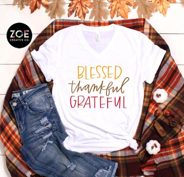 Blessed Thankful Grateful | Fall Shirts Women | Thankful Grateful Blessed Shirt | Cute Fall Shirts for Women Thanksgiving Shirt Graphic Tee