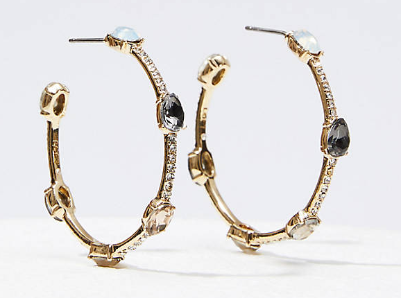 LOFT Pave Stone Hoop Earrings