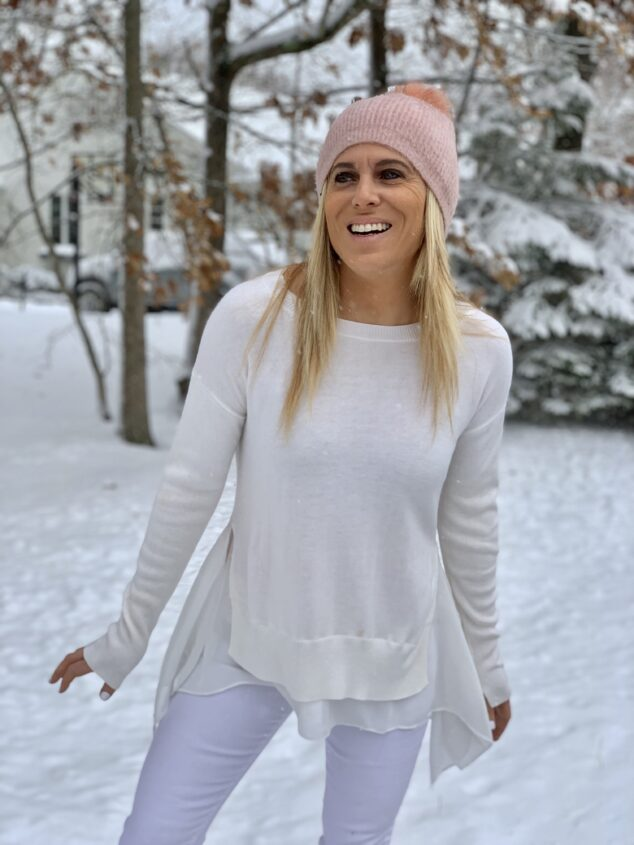 woman in Winter Whites clothing