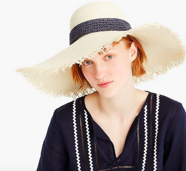 J.Crew Wide-brim straw hat with crochet band