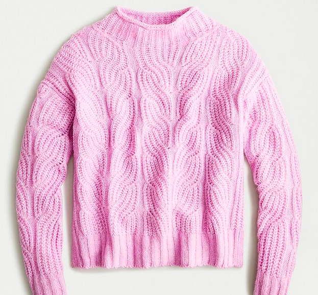 Pointelle cable sweater
