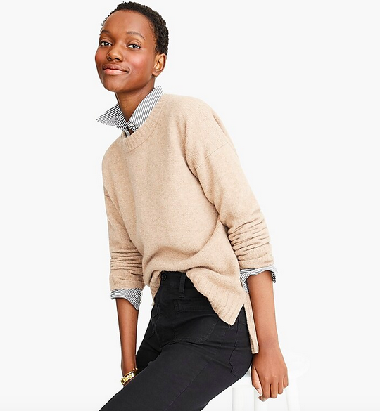 Oversized crewneck sweater in supersoft yarn