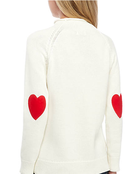 Valetine's DAy Clothes  Crown & Ivy™ Women's Long Sleeve Heart Patch Solid Sweater