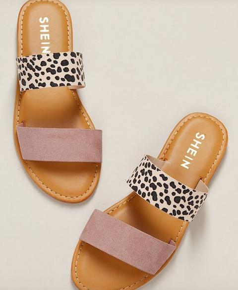 Blush Leopard Two Band Flat Slide Sandals