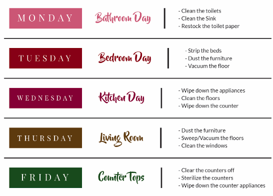 Home Cleaning Schedule - Weekly Cleaning