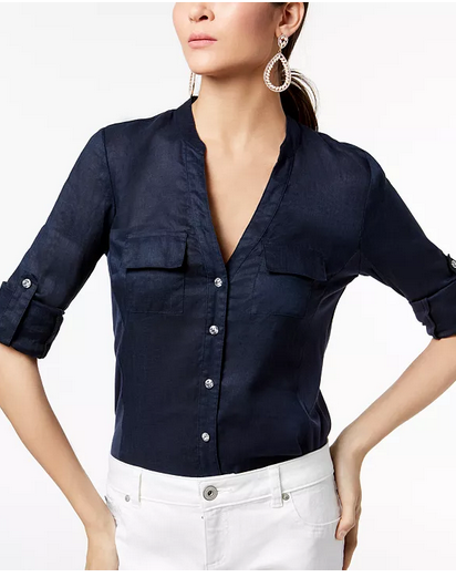 INC Linen-Blend Utility Shirt, Created for Macy's