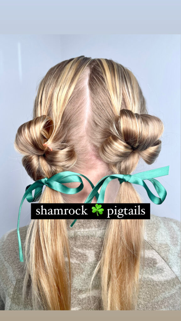 Shamrock Pigtail Hairstyle for St. Patrick's Day