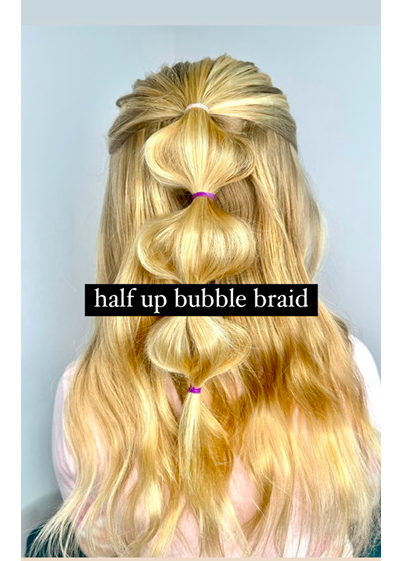 Half Up Bubble Braid Hairstyle