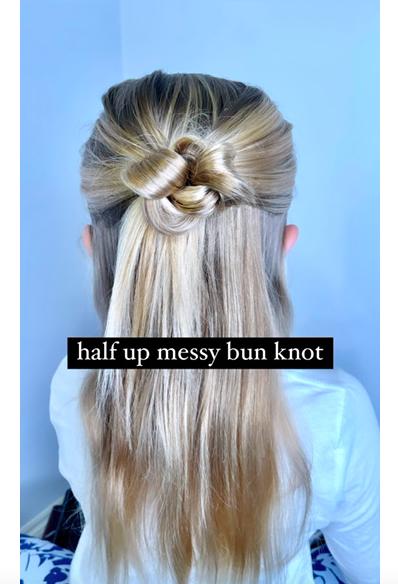 Half up Messy Bun Knot