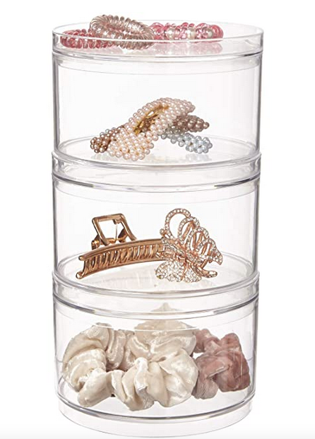 Stackable Clear Plastic Hair Accessory Containers with Lids