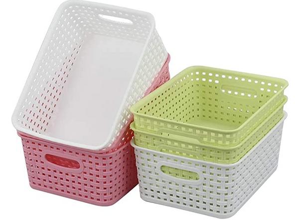 6 Pantry Organizer Bins, Plastic Weave Baskets