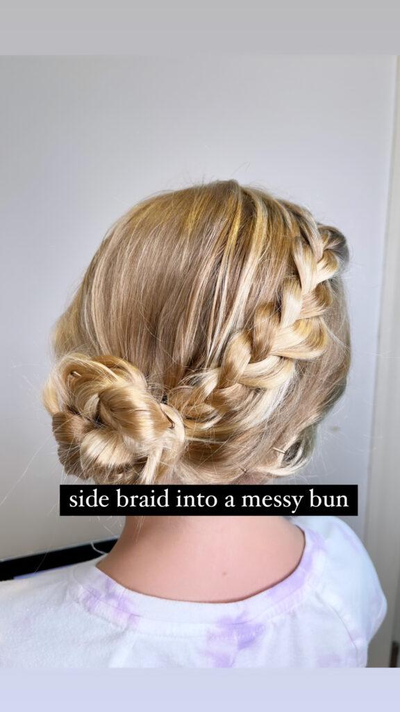 Side Braid Messy Bun