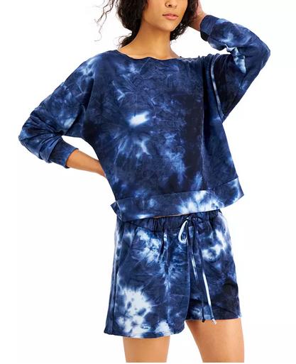 Jenni Tie Dyed Long Sleeve Top & Shorts Sleep Set, Created for Macy's