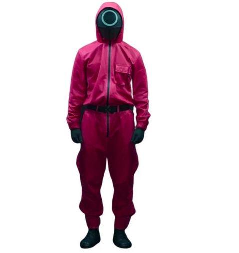 Squid Game Costume: Unisex Korean Drama Squid Game Pink Guard Cosplay Jumpsuit Halloween Carnival Party Role Play Outfits