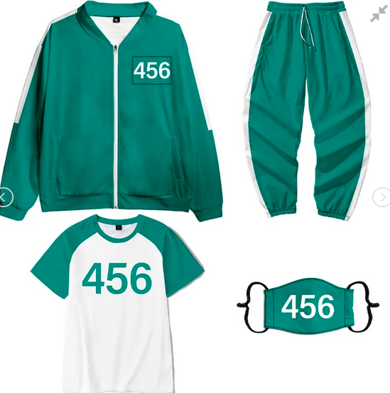 Squid Game Halloween Costume: Squid Game Costume Tracksuit Sportwear 4-Piece Outfit Set